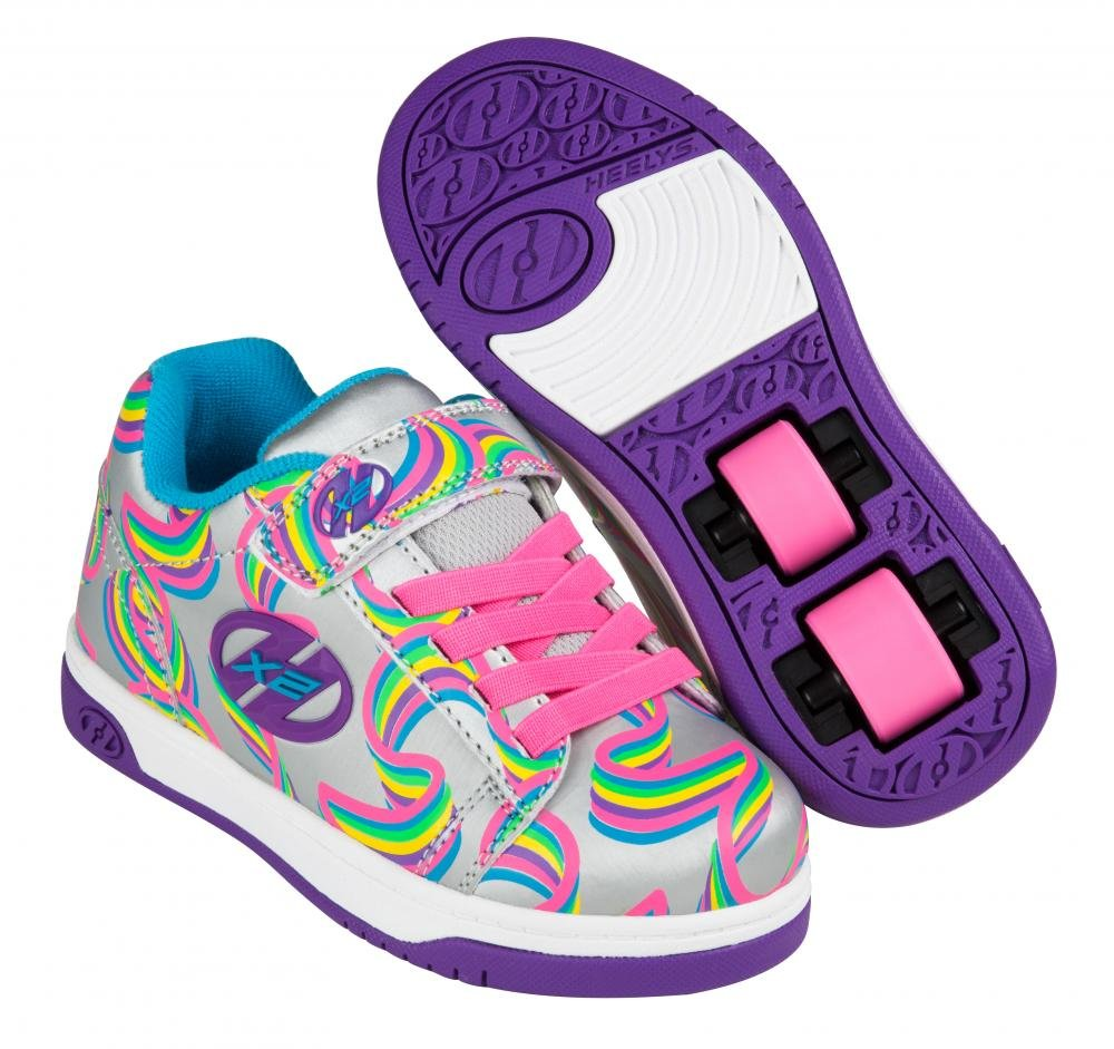 Heelys - X2 Dual Up Silver/Purple/Rainbow - koloboty