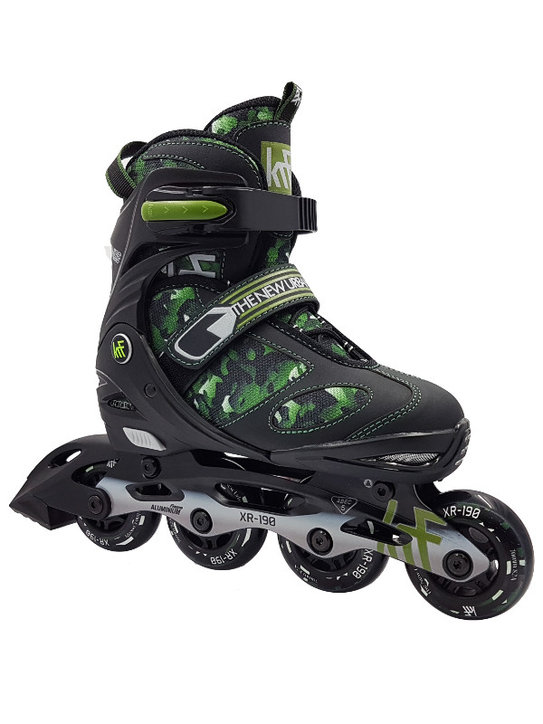 KRF Adjustable XR-190 Inline Skate Green Camo - nastavitelné in-line brusle