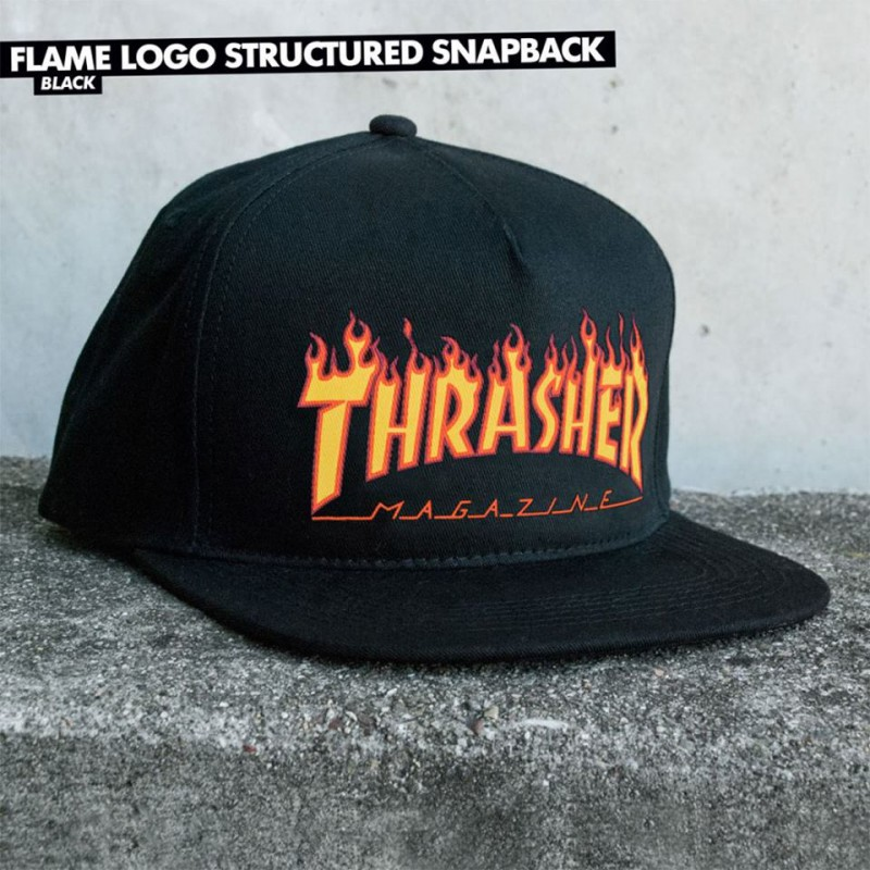 Kšiltovka Thrasher FLAME LOGO STRUCTURED Black
