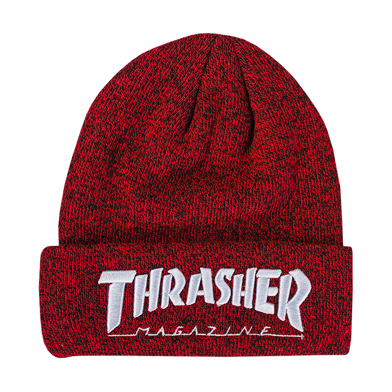 "Kulich ""heather red"" Thrasher vyšité logo bílé Kulich ""heather red"" Thrasher vyš"